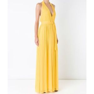 Alice + Olivia Kassidy Chiffon Halter Gown Gold 2